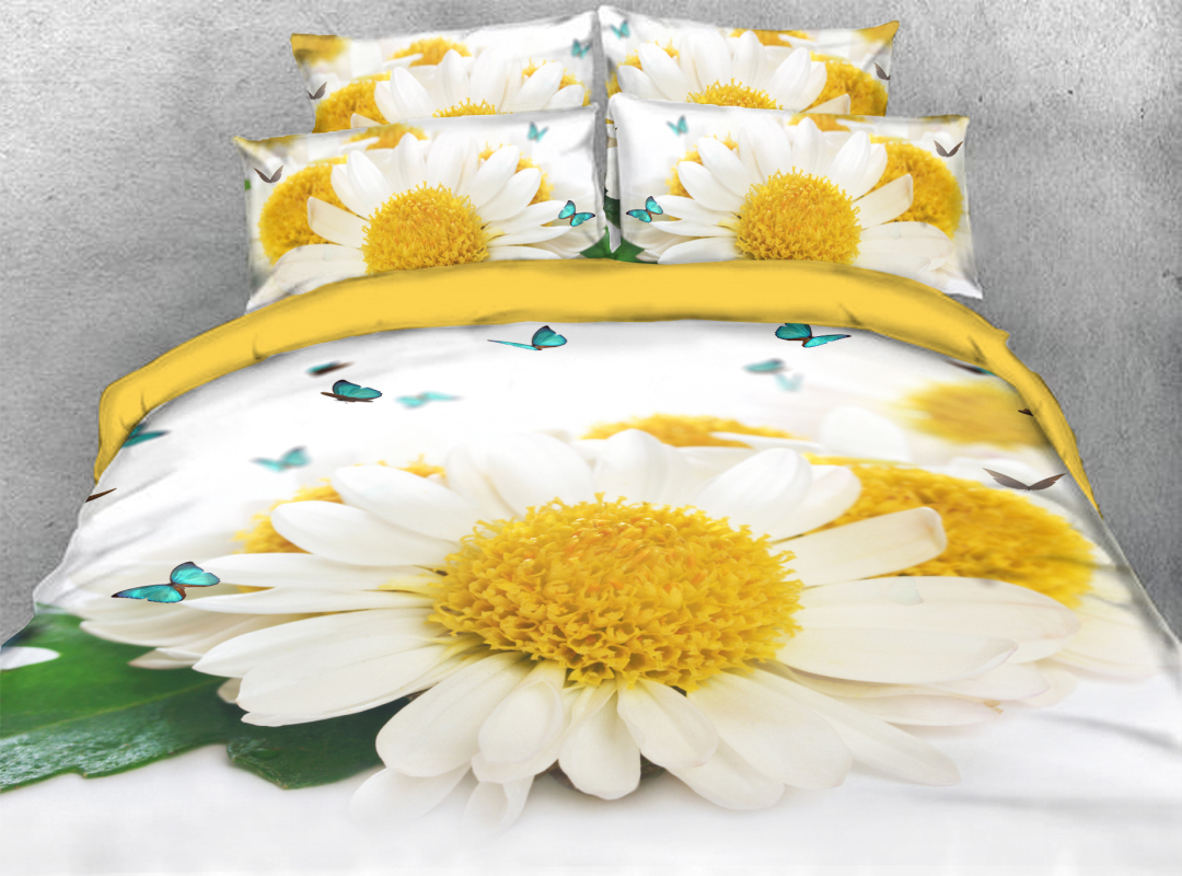 3D Daisy Spring Floral 4-Piece Soft Bedding Sets Zipper Colorfast Hard-wearing Duvet Cover with Corner Ties