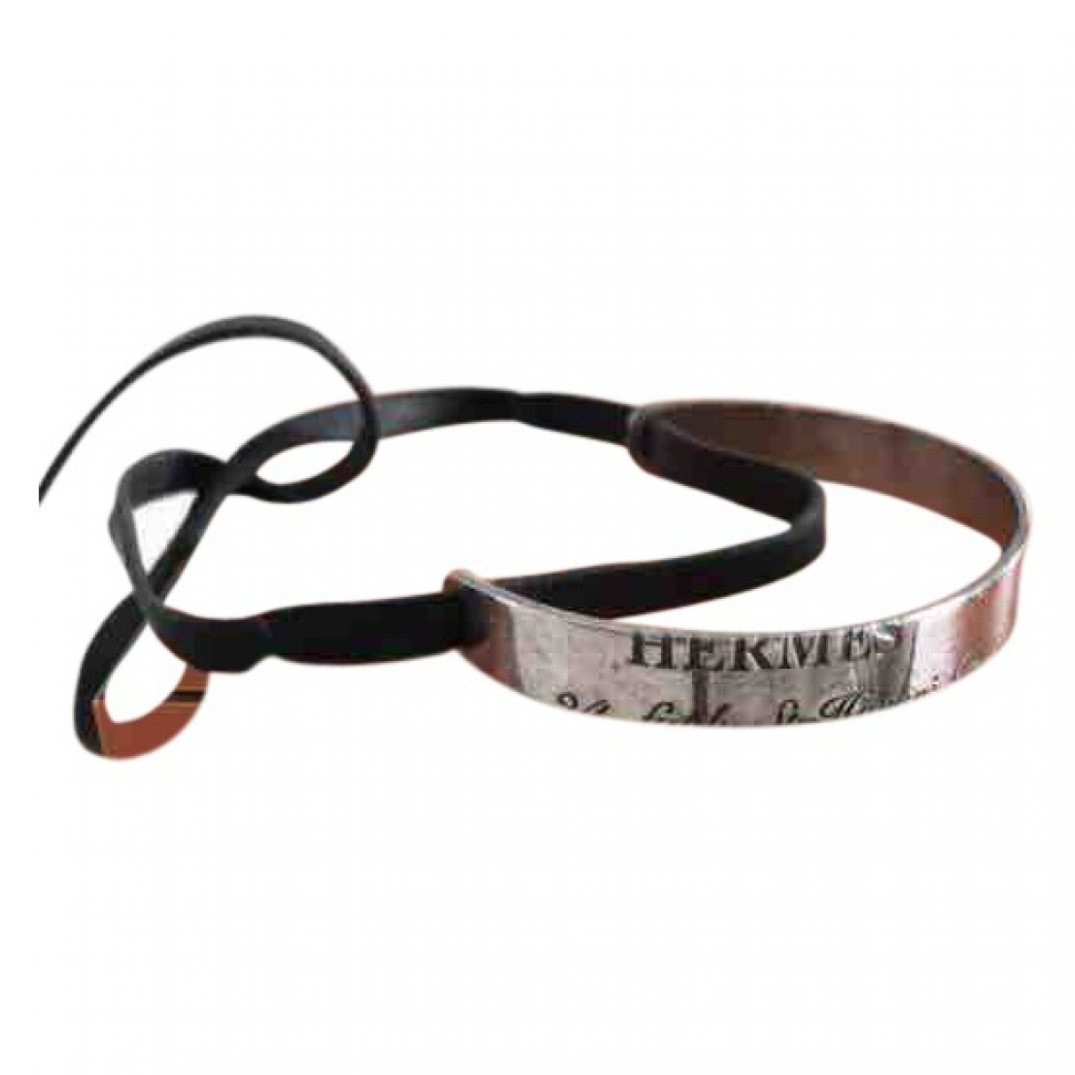 Hermes Bracelet Charniere Armband in  Schwarz Leder