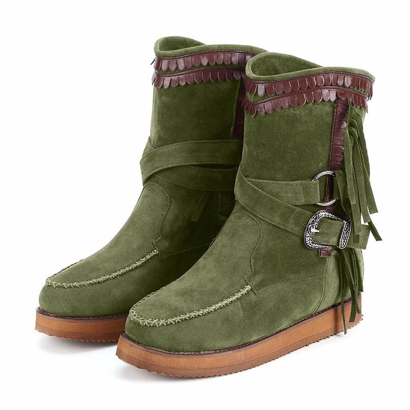 Ericdress Slip-On Flat With Round Toe Fringe Boots