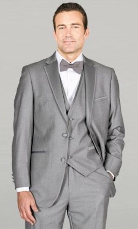 Light Gray Framed Notch Lapel with Vest Microfiber Wedding Tuxedos