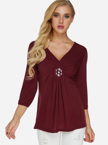 Yoins Burgundy Sequins Embellished Plain V-neck Long Sleeves Pleated Details T-shirt
