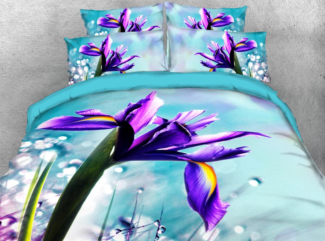 Purple Iris 3D 4-piece Floral Bedding Sets No-fading Soft Zipper Duvet Cover with Non-slip Ties