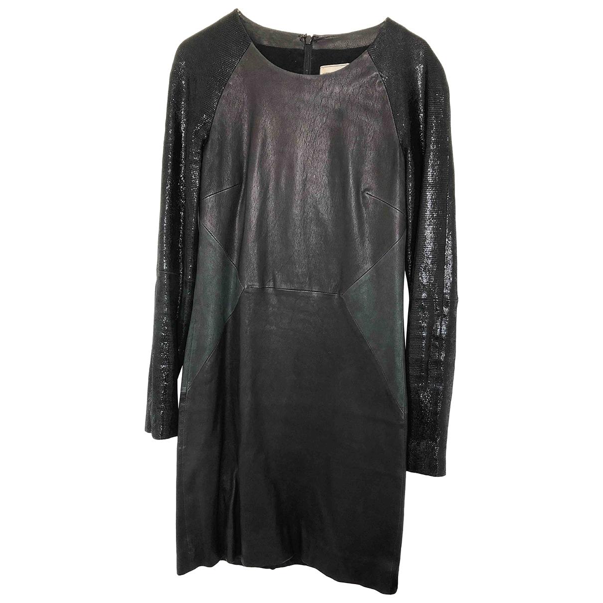 American Retro - Robe   pour femme en cuir - noir