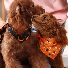 2 Stuecke Bandana mit Halloween Kuerbis Muster fuer Hunde