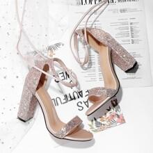 Glitter Tie Leg Chunky Heeled Sandals