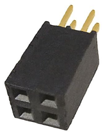 Samtec , SSQ 2.54mm Pitch 4 Way 2 Row Straight PCB Socket, Through Hole, Solder Termination