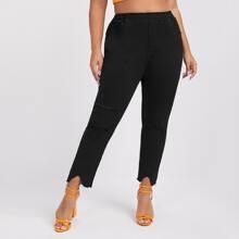 Plus Elastic Waist Ripped Asymmetrical Raw Hem Jeans