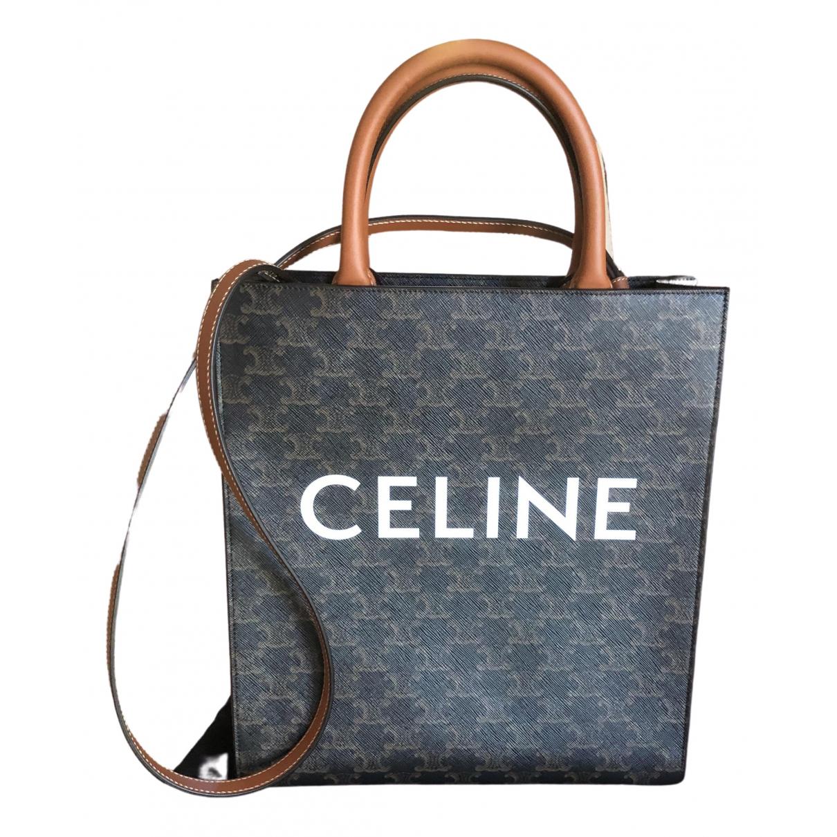 Celine Cabas Vertical Handtasche in  Braun Leinen