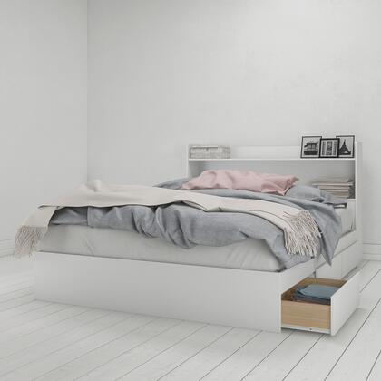 400940 Nexera 2 Piece Queen Size Storage Bed Set with Platform Bed + Bookcase Headboard  in White Melamine And Matte White
