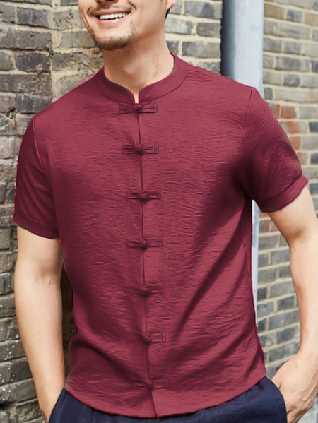 Yoins INCERUN Men Button Front Stand Collar Short Sleeved Shirt