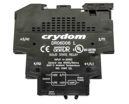 Sensata / Crydom 6 A Solid State Relay, Zero Cross, DIN Rail, 60 V dc Maximum Load