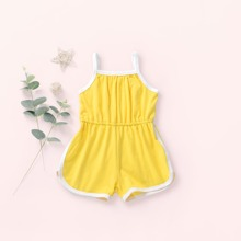 Toddler Girls Contrast Binding Cami Romper