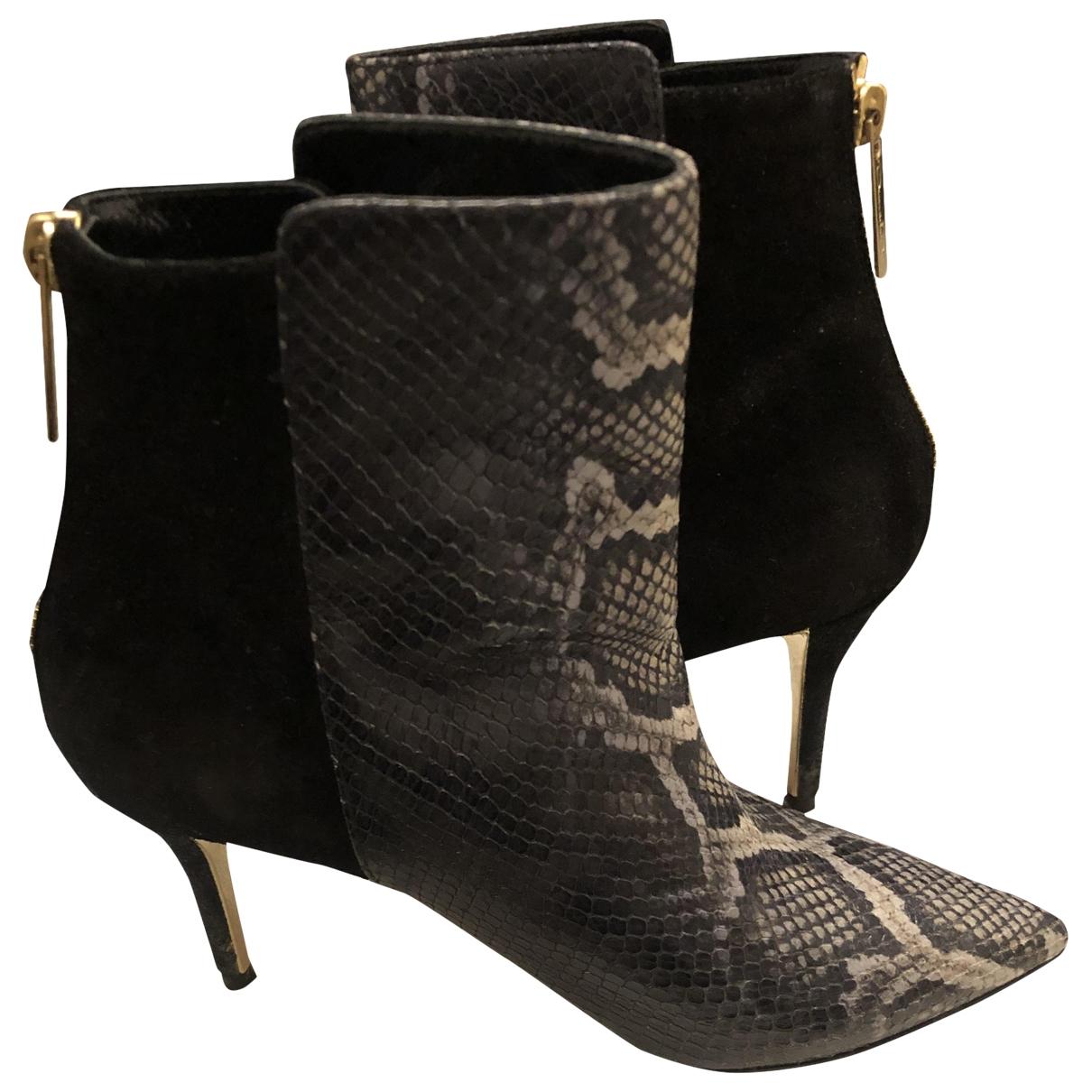 Oscar De La Renta - Boots   pour femme en python - anthracite