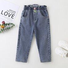 Toddler Girls Frill Trim Slant Pocket Jeans