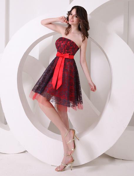 Milanoo Vestido de coctel de encaje rojo sin tirantes con lazo de estilo dulce