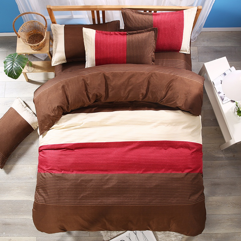 Reactive Vertical Stripes Modern Concise Style 3-Piece Comforter Sets (Claret-Red)