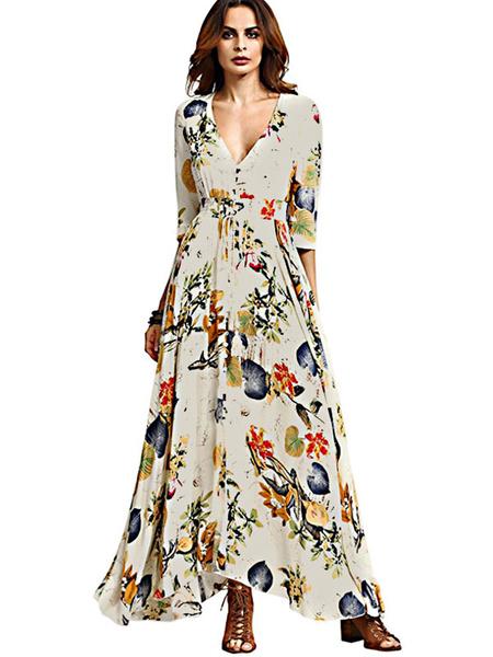 Milanoo Boho Maxi Dress Black V Neck Floral Print 3/4 Length Sleeve Women Summer Dress
