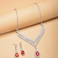 3pcs Gemstone Water Drop Decor Jewelry Set