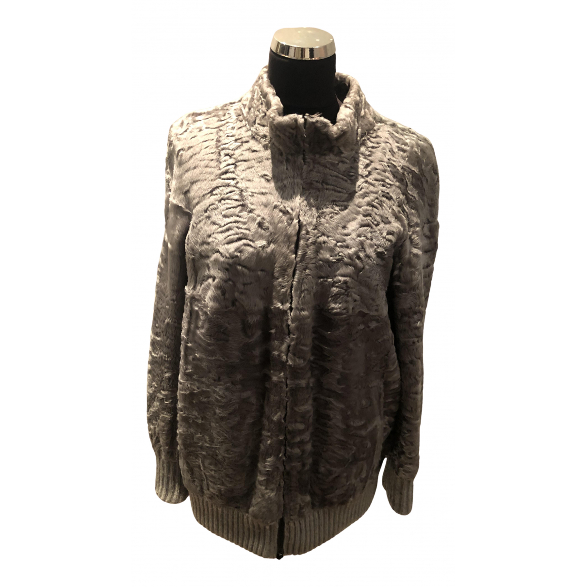 Valentino Garavani - Veste   pour femme en agneau de mongolie - gris