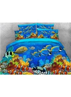 Underwater Sea Fish Scenery Printed 4pcs 3D Bedding Sets Zipper Colorfast Creative Duvet Cover