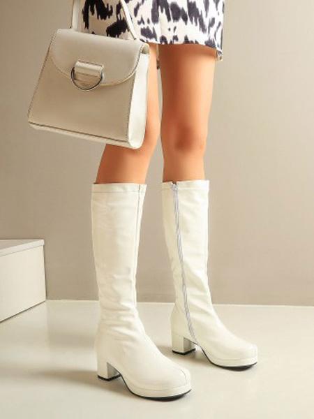 Milanoo Lolita Boots PU Leather Round Toe Lolita Footwear