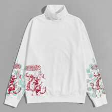 Sweatshirt mit hohem Kragen und chinesischen Schriften Muster