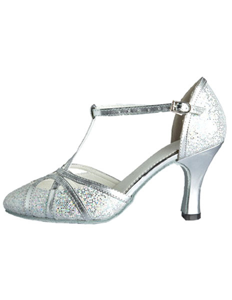 Milanoo Silver Ballroom Shoes Glitter Professional Latin Dancing Shoes Pointed Toe T Type 1920s Flapper Shoes