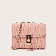 Stitch Detail Flap Chain Shoulder Bag