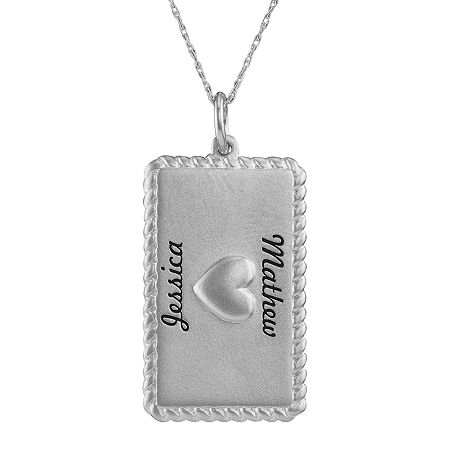 Personalized Sterling Silver Rectangular Puffed Heart Pendant Necklace, One Size , White