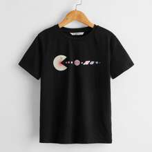 Camiseta de niños con estampado de emoji y planeta