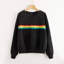 Pullover mit Regenbogen Band und sehr tief angesetzter Schulterpartie