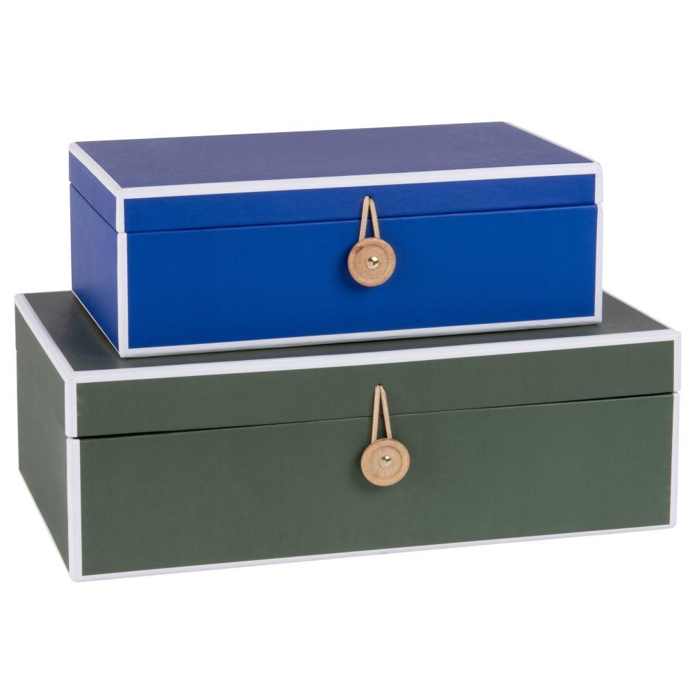 Schachteln aus Pappe, blau und khakigruen (x2)
