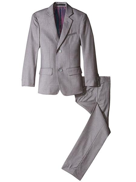 kids children Boys' Slim Linen Grey Notch Lapel 2 Piece Cut Suit