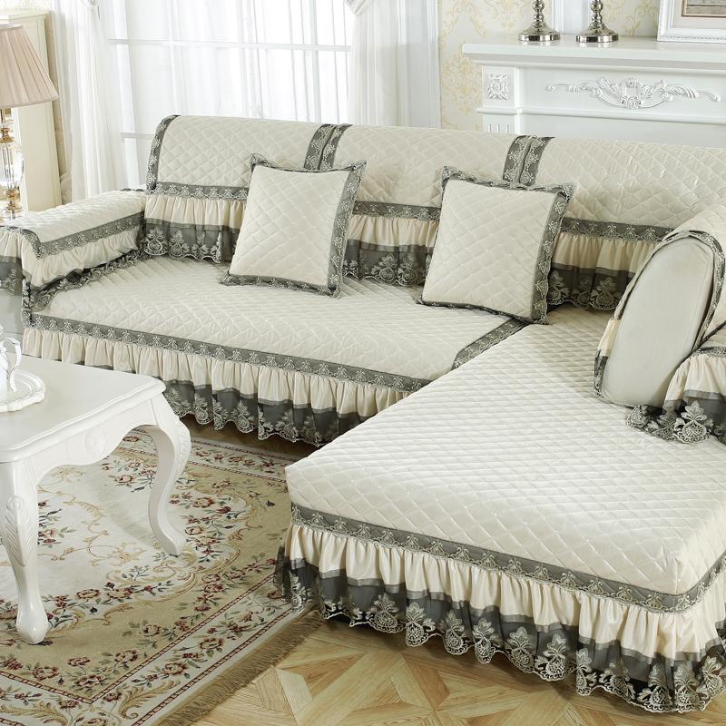 Pure Color All Seasons Anti-Slip Furniture Protection Sofa Cover