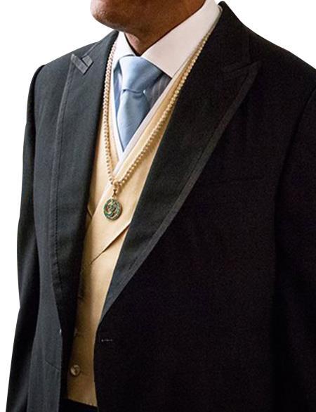 Men's Black Single Breasted 1 Button Peak Lapel Suit