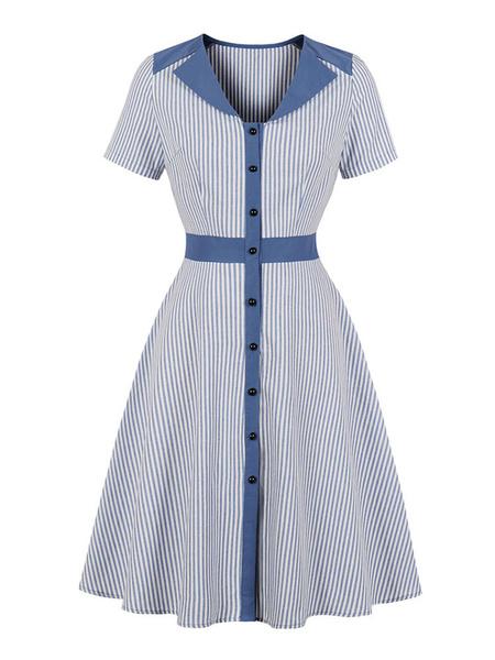 Milanoo Vintage Dress Womens Stripes Turndown Collar Buttons Short Sleeves 1950s Midi Retro Dresses