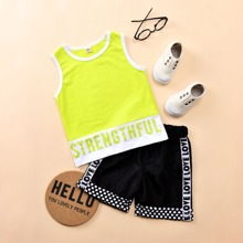 Toddler Boys Letter Graphic Colorblock Tank Top & Tape Shorts
