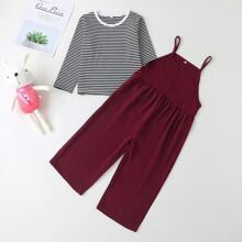 Toddler Girls Striped Print Tee And Wide Leg Jumpsuit