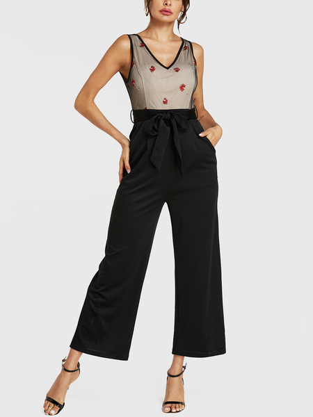 YOINS Black Embroideried V-neck Sleeveless Wide Leg Jumpsuit