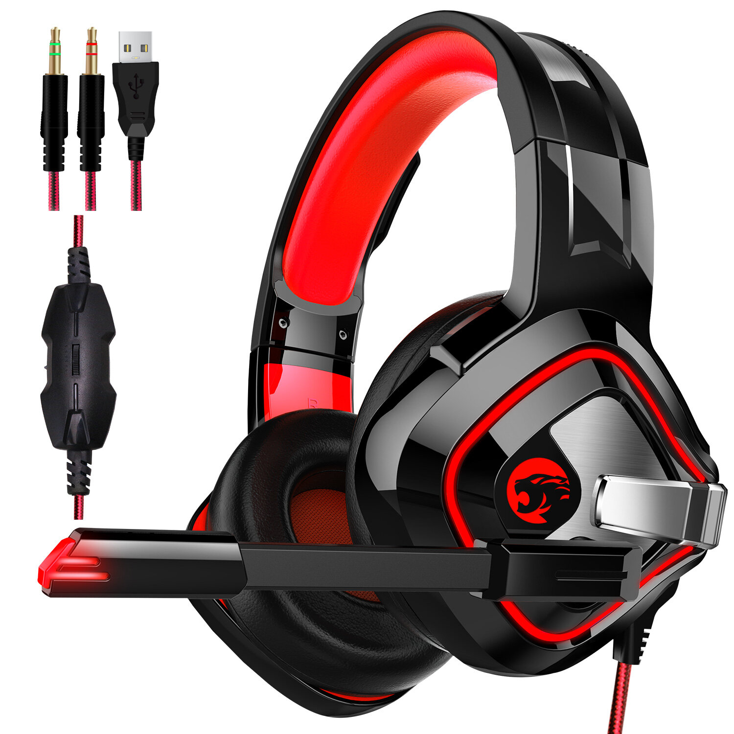 A66 PS4 Gaming Headphone 4D Stereo RGB LED Light Headset Noise Cancelling In-line Earphone With Mic