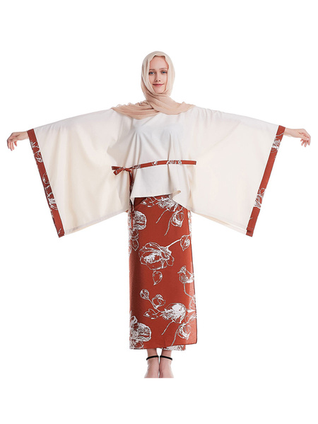 Milanoo Arabian Clothing Long Sleeves Printed Cotton Muslim 2 Piece Outfit