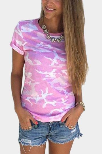 Yoins Crew Neck Camo Print Tees in Pink