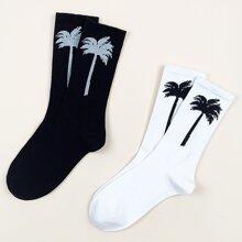 2 Paare Maenner Socken mit Baum Muster