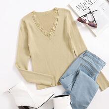 Lace Trim Rib-knit Sweater