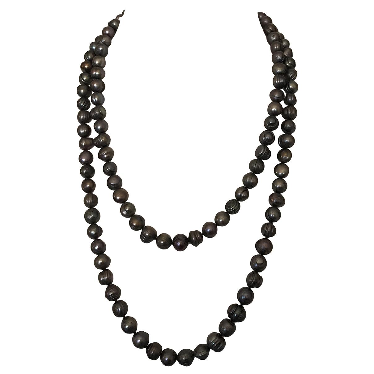 - Collier Chaines pour femme en perles - gris