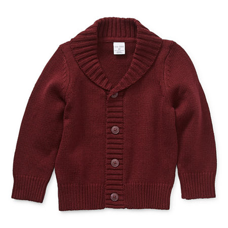 Okie Dokie Toddler Boys Long Sleeve Button Cardigan, 5t , Red