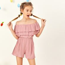 Girls Layered Flounce Off Shoulder Pleated Romper