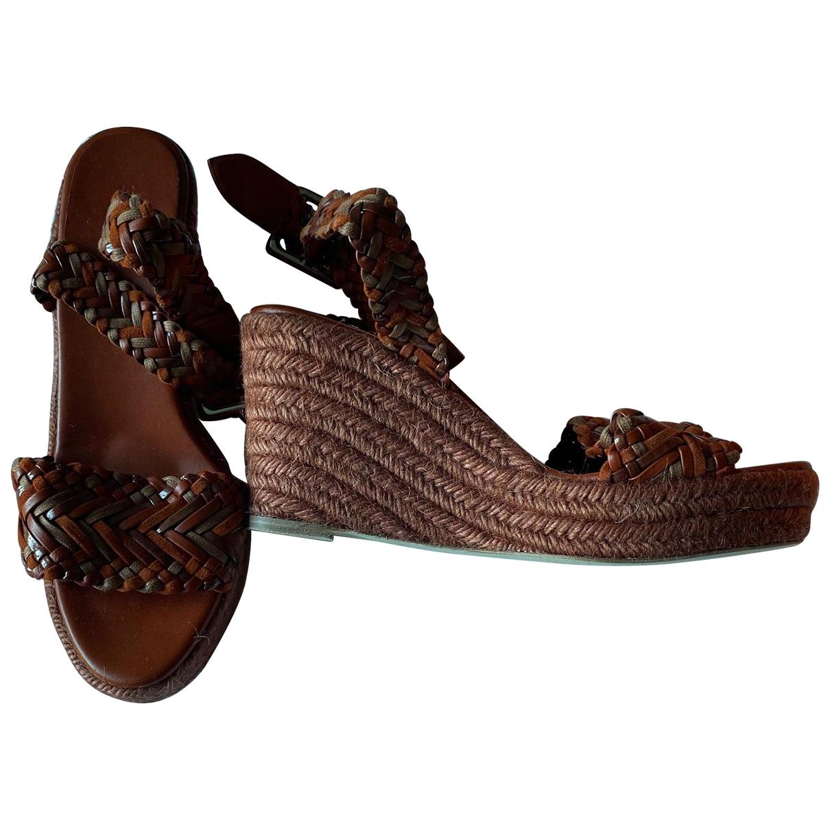 Hermes - Espadrilles   pour femme en cuir - marron