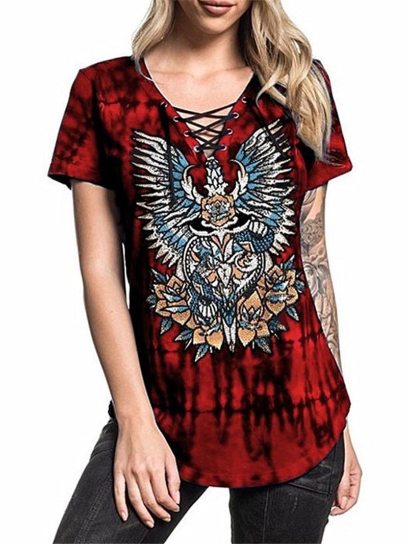Ericdress Short Sleeve V-Neck Color Block Slim T-Shirt