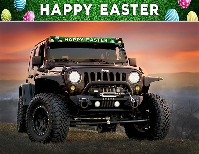 AeroLidz HPESTR50S LED Light Bar Cover Insert Happy Easter Single Row 50 Inch